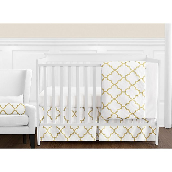 Alternate image 1 for Sweet Jojo Designs Trellis 11-Piece Crib Bedding Set in White/Gold