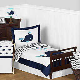 Sweet Jojo Designs Whale Toddler Bedding Collection in Navy