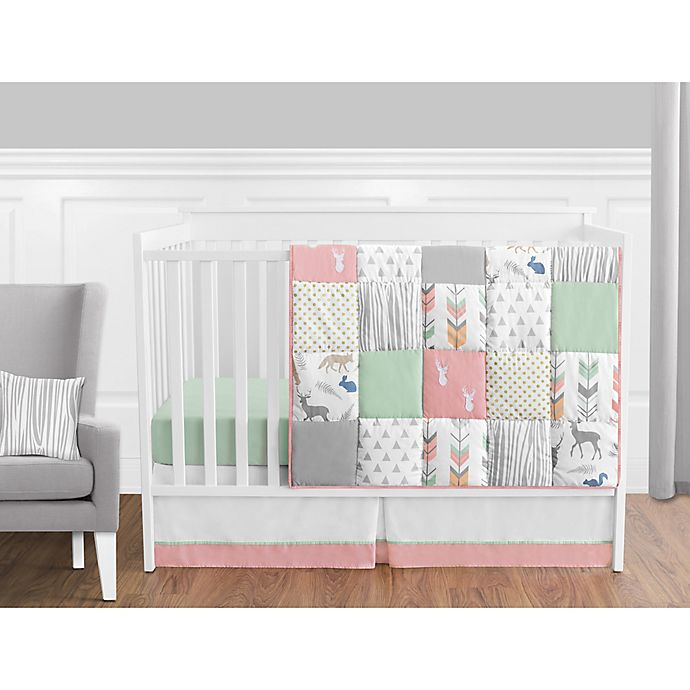 Alternate image 1 for Sweet Jojo Designs Woodsy Crib Bedding Collection in Coral/Mint