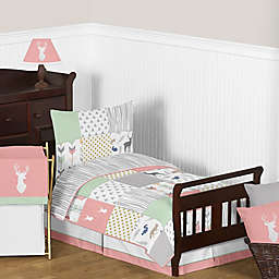Sweet Jojo Designs Woodsy Toddler Bedding Collection in Coral/Mint