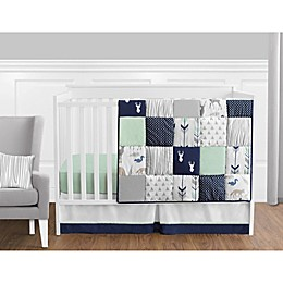 Sweet Jojo Designs Woodsy Crib Bedding Collection in Navy/Mint