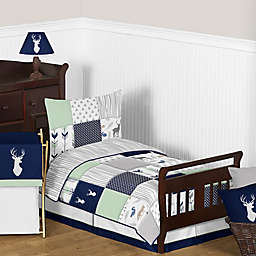 Sweet Jojo Designs Woodsy Toddler Bedding Collection in Navy/Mint