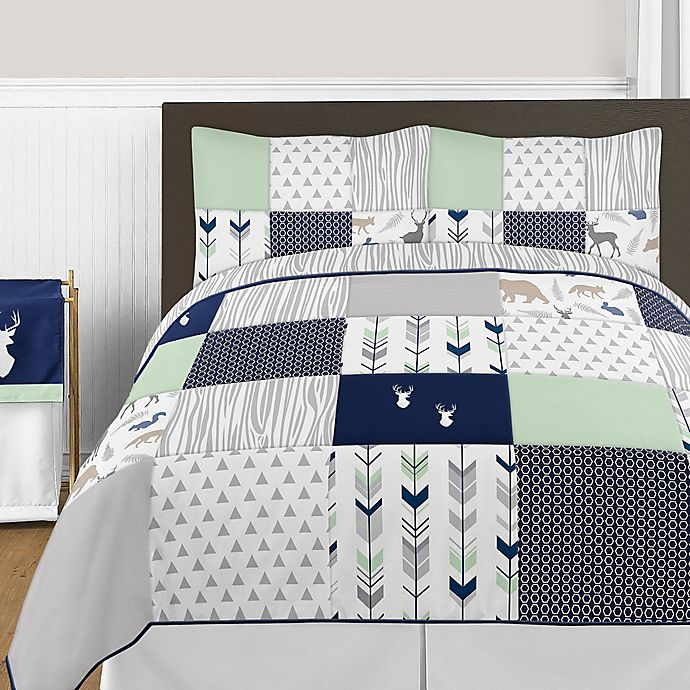 Sweet Jojo Designs Boys Accent Floor Rug Bedroom Decor For Navy And White Woodland Deer Kids Bedding Collection
