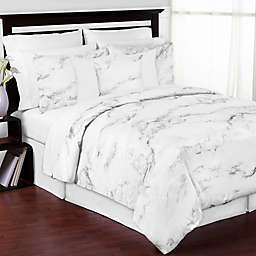 Sweet Jojo Designs Marble 3-Piece King Comforter Set in Black/White