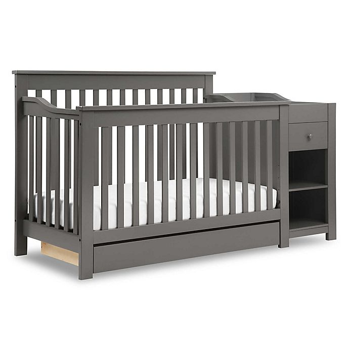 Alternate image 1 for DaVinci Piedmont 4-in-1 Crib and Changer Combo in Slate