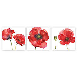 Arthouse Red Painted Poppies Canvas Wall Art (Set of 3)