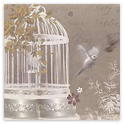 Arthouse Birdcage Canvas Wall Art in Silver