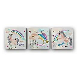 Imagine Fun Unicorn Glitter Canvas Wall Art (Set of 3)