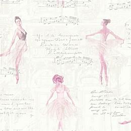 Imagine Fun Pirouette Ballerina Wallpaper in Pink