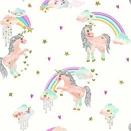 Imagine Fun Rainbow Unicorn Wallpaper in White