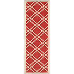 Safavieh Courtyard 2-Foot 2-Inch x 8-Foot Margot Indoor/Outdoor Rug in Red/Bone