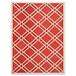 Safavieh Courtyard 4-Foot x 5-Foot 7-Inch Margot Indoor/Outdoor Rug in Red/Bone