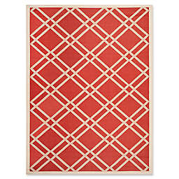 Safavieh Courtyard 5-Foot 3-Inch x 7-Foot 7-Inch Margot Indoor/Outdoor Rug in Red/Bone