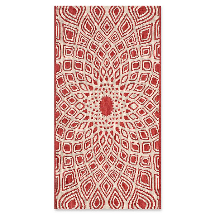 Alternate image 1 for Safavieh Courtyard 2-Foot 3-Inch x 8-Foot Lacey Indoor/Outdoor Rug in Red/Beige