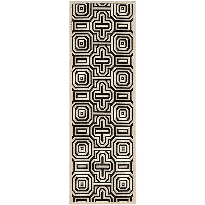 Alternate image 1 for Safavieh Courtyard 2-Foot 3-Inch x 6-Foot 7-Inch Daisy Indoor/Outdoor Rug in Sand/Black