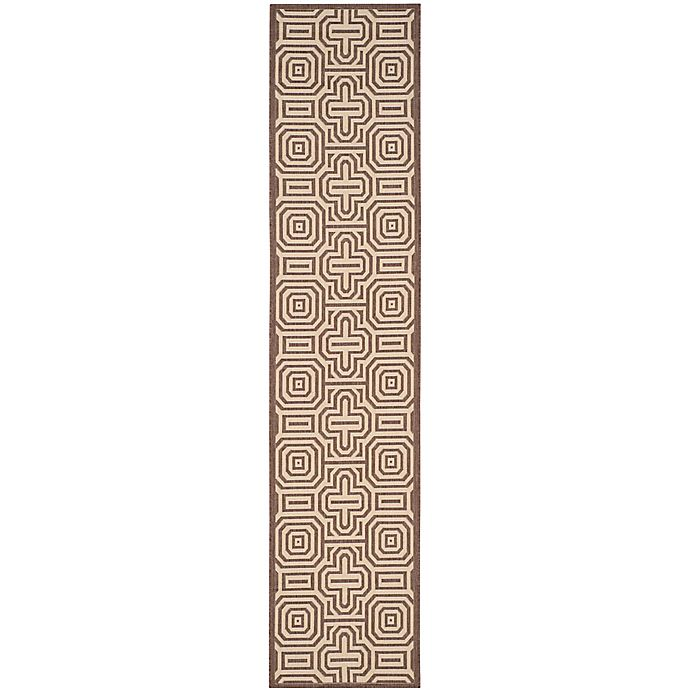 Alternate image 1 for Safavieh Courtyard 2-Foot 3-Inch x 10-Foot Daisy Indoor/Outdoor Rug in Chocolate/Natural