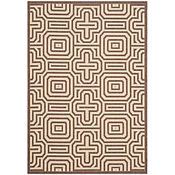 Safavieh Courtyard Daisy 2'7 x 5' Indoor/Outdoor Accent Rug in Chocolate/Natural