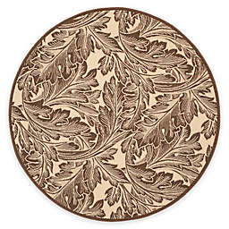 Safavieh Courtyard Autumn Leaves 6'7 Round Indoor/Outdoor Area Rug in Natural/Chocolate