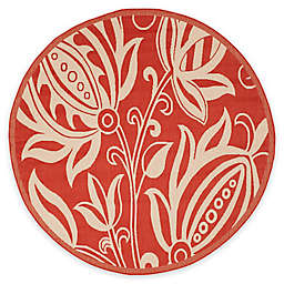 Safavieh Courtyard Reese 6'7 Round Indoor/Outdoor Area Rug in Red/Natural