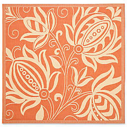 Safavieh Courtyard Reese 6'7 Square Indoor/Outdoor Area Rug in Terracotta/Natural