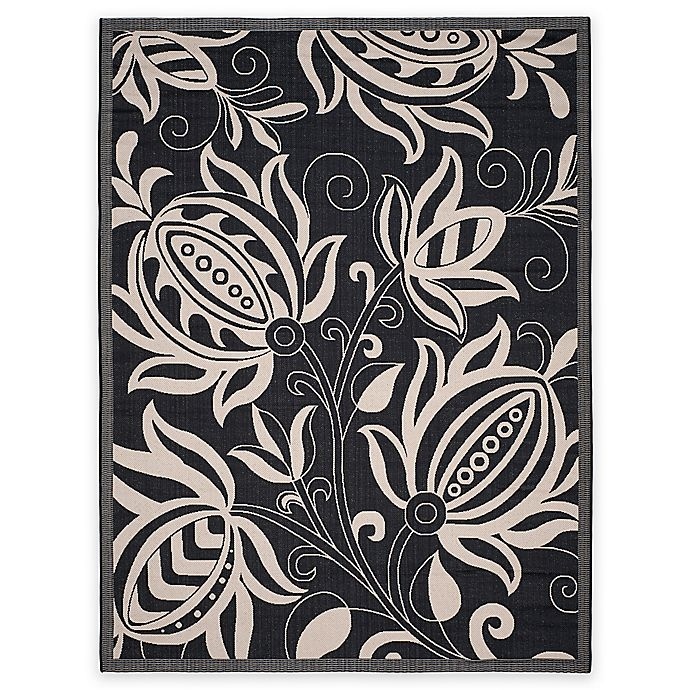 Alternate image 1 for Safavieh Courtyard 8-Foot x 11-Foot Reese Indoor/Outdoor Rug in Black/Sand