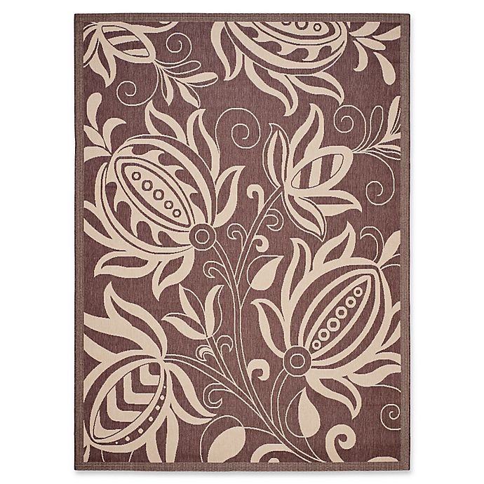 Alternate image 1 for Safavieh Courtyard 9-Foot x 12-Foot Reese Indoor/Outdoor Rug in Chocolate/Natural