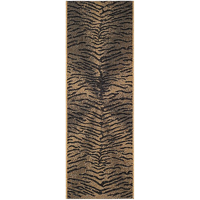 Alternate image 1 for Safavieh Courtyard 2-Foot 2-Inch x 9-Foot 11-Inch Elyse Indoor/Outdoor Rug in Black/Natural