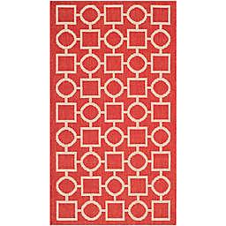 Safavieh Courtyard 2-Foot x 3-Foot 7-Inch Saylor Indoor/Outdoor Rug in Red/Bone