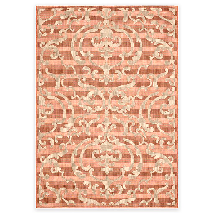 Alternate image 1 for Safavieh Courtyard 8-Foot x 11-Foot Sophie Indoor/Outdoor Rug in Terracotta/Natural