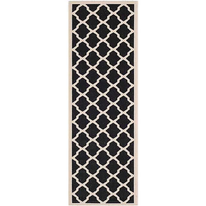 Alternate image 1 for Safavieh Courtyard 2-Foot 3-Inch x 12-Foot Evie Indoor/Outdoor Rug in Black/Beige