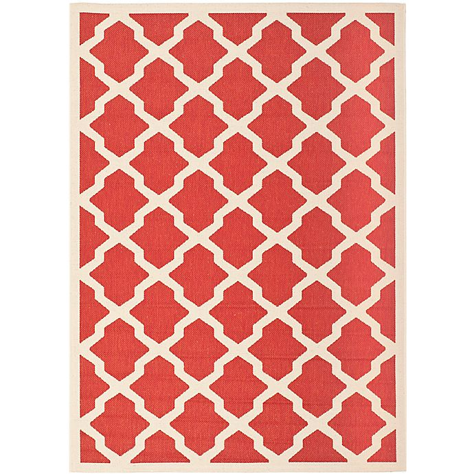Alternate image 1 for Safavieh Courtyard 6-Foot 7-Inch x 9-Foot 6-Inch Evie Indoor/Outdoor Rug in Red/Bone