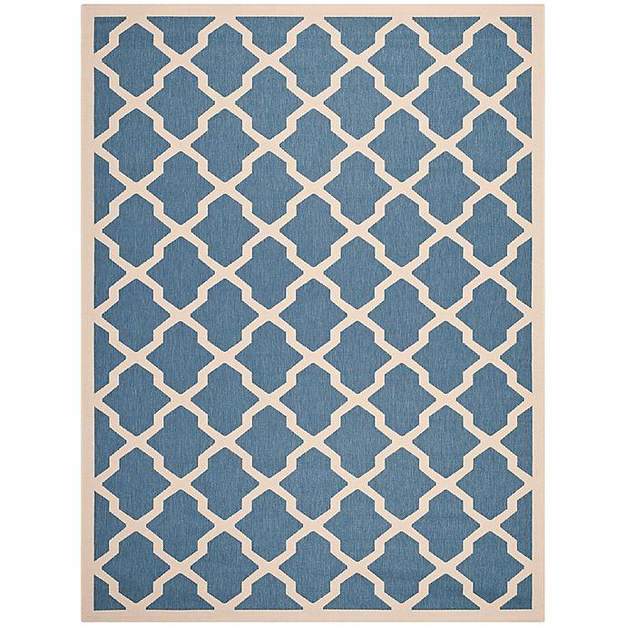 Alternate image 1 for Safavieh Courtyard 9-Foot x 12-Foot Evie Indoor/Outdoor Rug in Blue/Beige