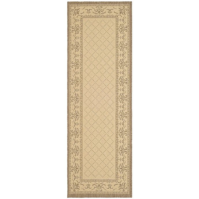 Alternate image 1 for Safavieh Courtyard 2-Foot 3-Inch x 10-Foot Sofia Indoor/Outdoor Rug in Natural/Brown