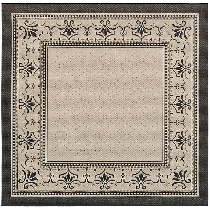 Alternate image 1 for Safavieh Courtyard 6-Foot 7-Inch x 6-Foot 7-Inch Sofia Indoor/Outdoor Rug in Sand/Black
