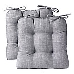Reversible Tufted Chair Pads in Grey (Set of 2)