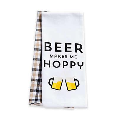 """Beer Makes Me Hoppy"" 2-Pack Kitchen Towels"