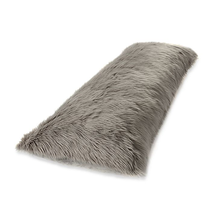 Faux Fur Body Pillow Cover In Grey Bed Bath Amp Beyond