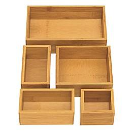 Seville Classic 5-Piece Bamboo Storage Box Set