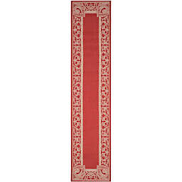 Safavieh Courtyard 2-Foot 3-Inch x 10-Foot Nova Indoor/Outdoor Rug in Red/Natural