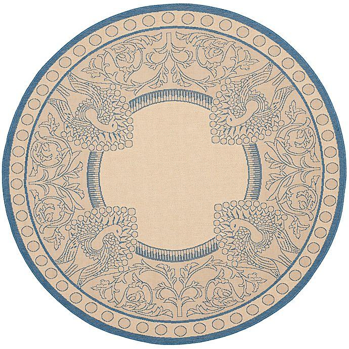 Alternate image 1 for Safavieh Courtyard 5-Foot 3-Inch x 5-Foot 3-Inch Nova Indoor/Outdoor Rug in Natural/Blue