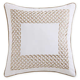 Tropical Plantation Embroidered Square Throw Pillow in Tan/White