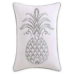 Tropical Plantation Pineapple Oblong Throw Pillow in Grey/White