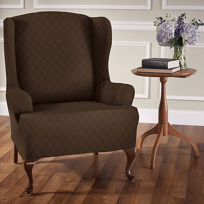Alternate image 1 for Newport Wingchair Stretch Slipcover in Chocolate
