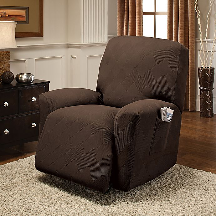 Alternate image 1 for Optic Recliner Stretch Slipcover in Chocolate