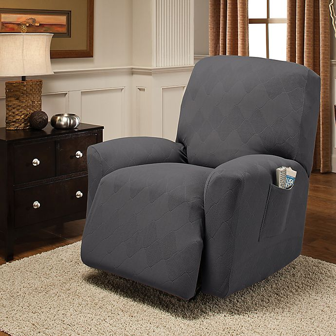 Alternate image 1 for Optic Recliner Stretch Slipcover in Grey