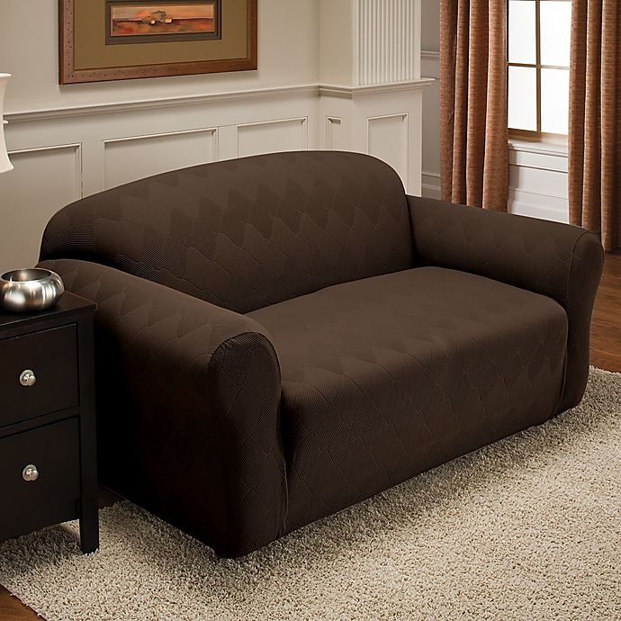Alternate image 1 for Optic Sofa Stretch Slipcover in Chocolate
