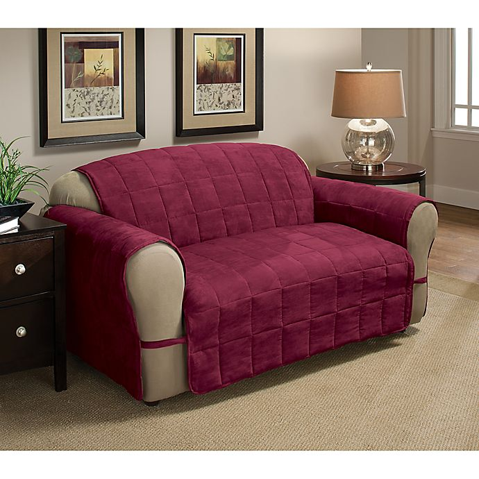 Alternate image 1 for Ultimate Faux Suede XL Sofa Protector in Burgundy