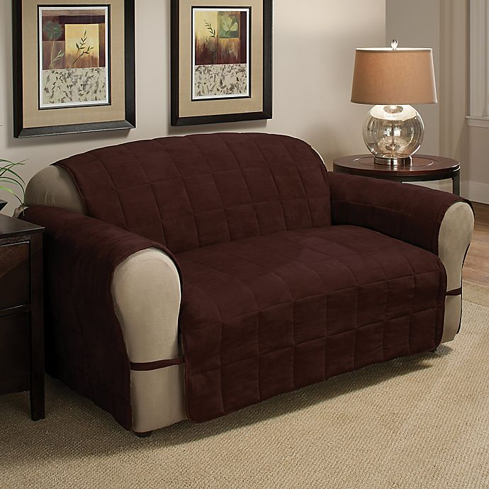 Alternate image 1 for Ultimate Faux Suede XL Sofa Protector in Chocolate