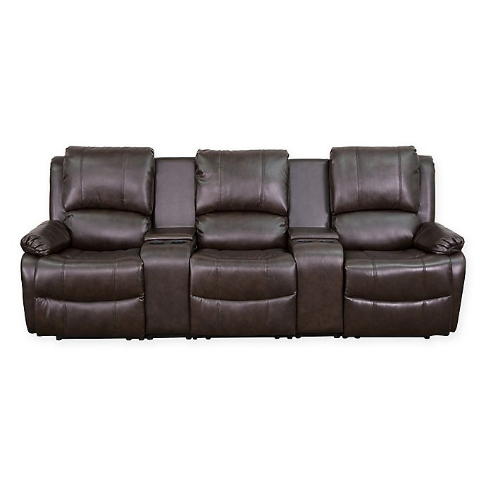Flash Furniture 96 Inch Leather 3 Seat Home Theater Recliner