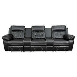 Flash Furniture 113-Inch Leather 3-Seat Reclining Theater Set